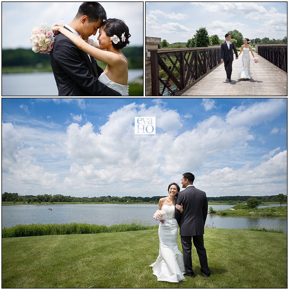 Libertyville has a Lake that makes for a beautiful backdrop for the bride and groom