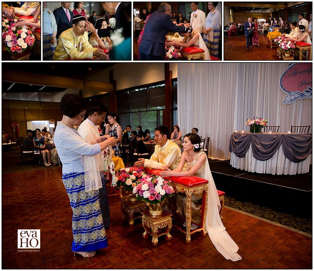 All guests were invited to bless the couple during the Thai Water Wedding Ceremony at Independence Grove Forest Preserve in Libertyville, IL