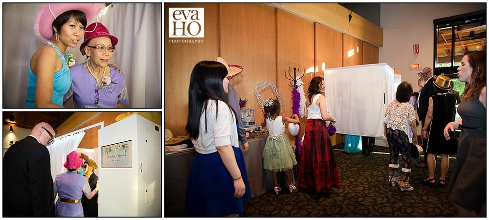Photo booth fun! Guests are having a good time choosing their props and making memories