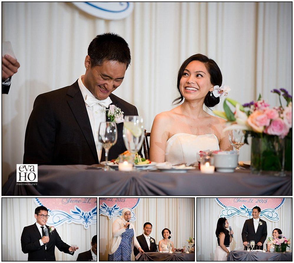 Wedding guests toasts at dinner reception