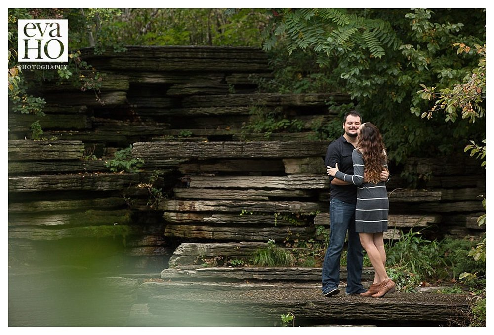 The bride and groom-to-be love the Alfred Caldwell Lily Pond!