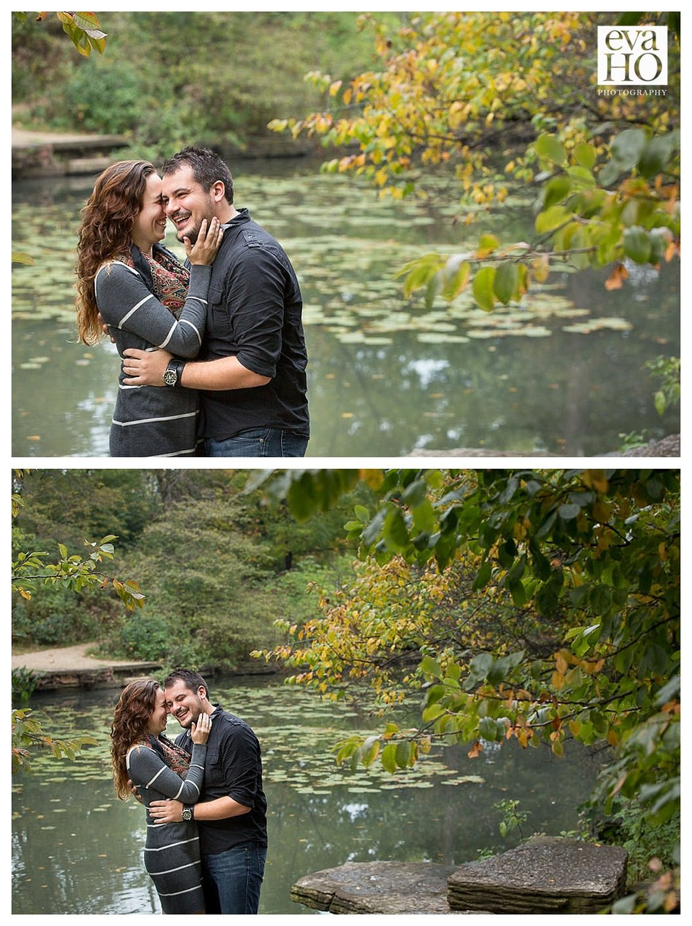 Alison and Jim's engagement session in Lincoln Park. The bride and groom-to-be love the Alfred Caldwell Lily Pond!
