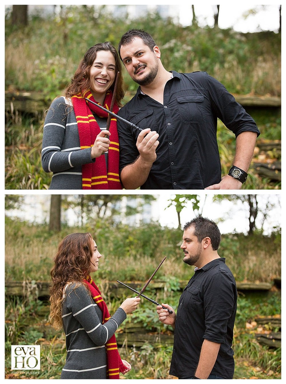 Lincoln Park Lily Pond Harry Potter Theme Engagement Session