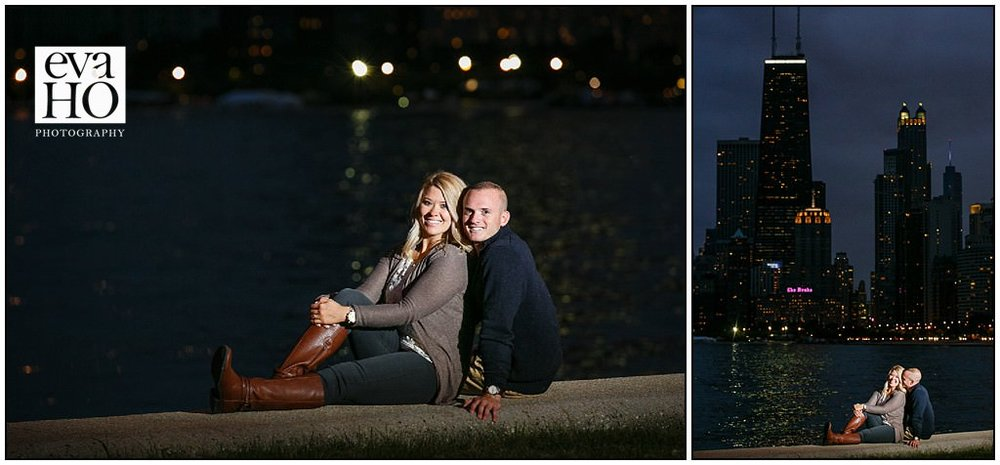 Night time engagement session at North Avenue Beach