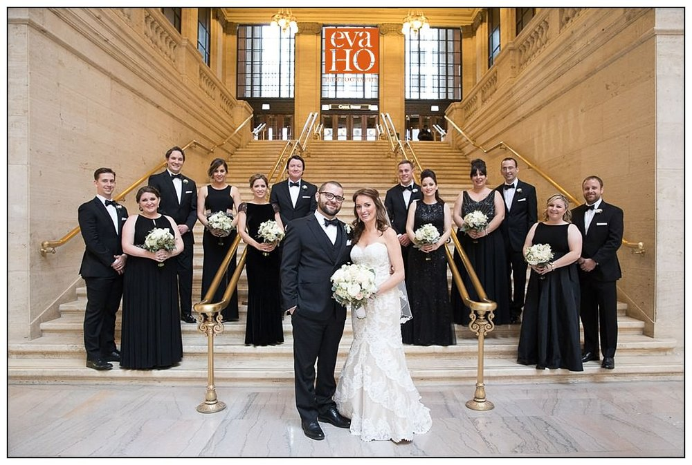 The bridesmaids looked so elegant in their floor length black gowns, and the groomsmen looks just as handsome in their bowties!