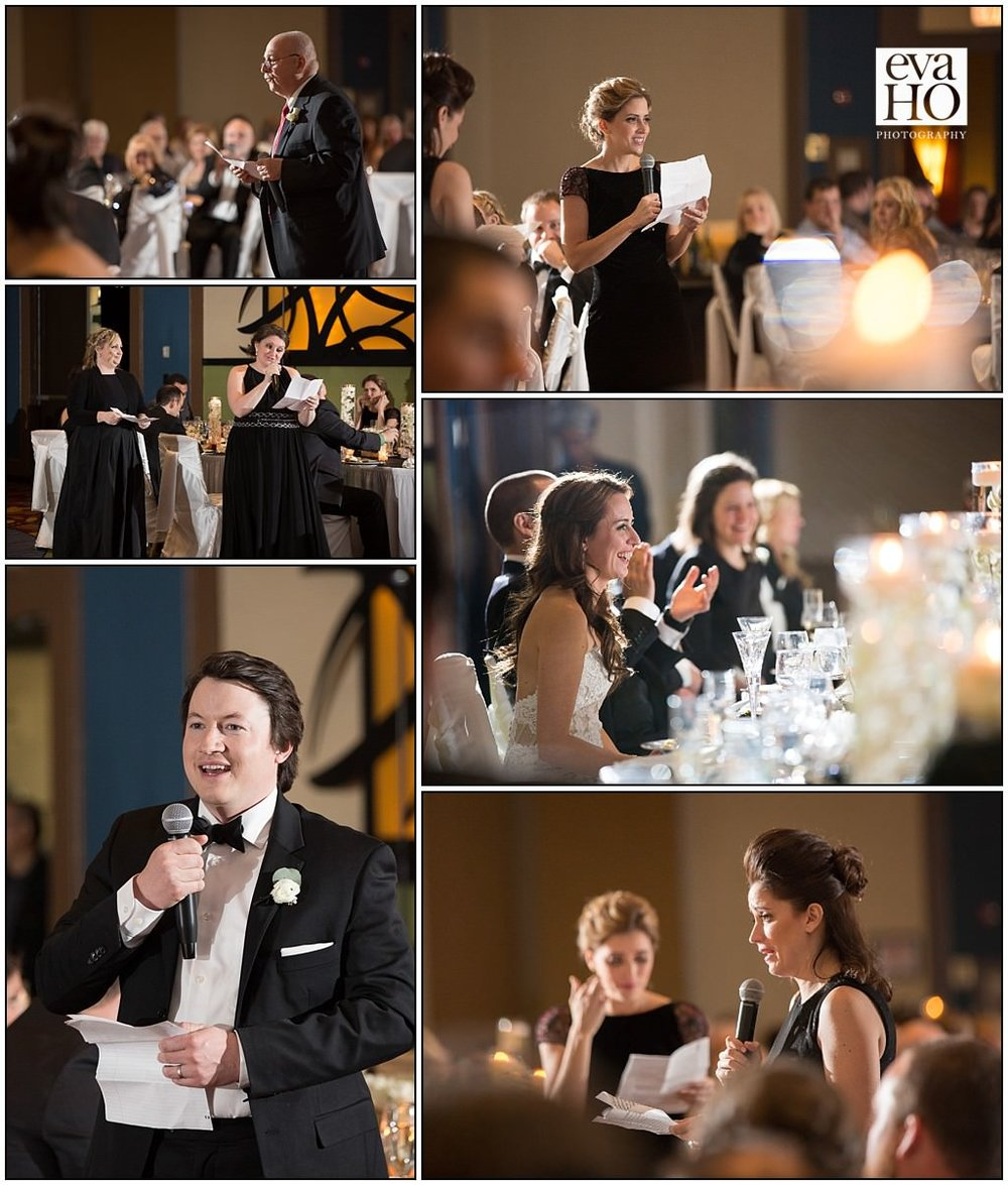Both family and friends gave toasts at the reception, filled with both laughs and tears! It was so fun to watch the bride and groom's reactions to all the stories that were told about them.