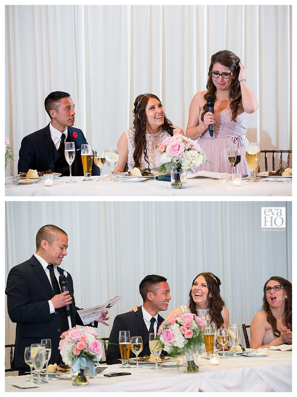 The maid of honor made us cry and the best man made us laugh..the perfect combo!
