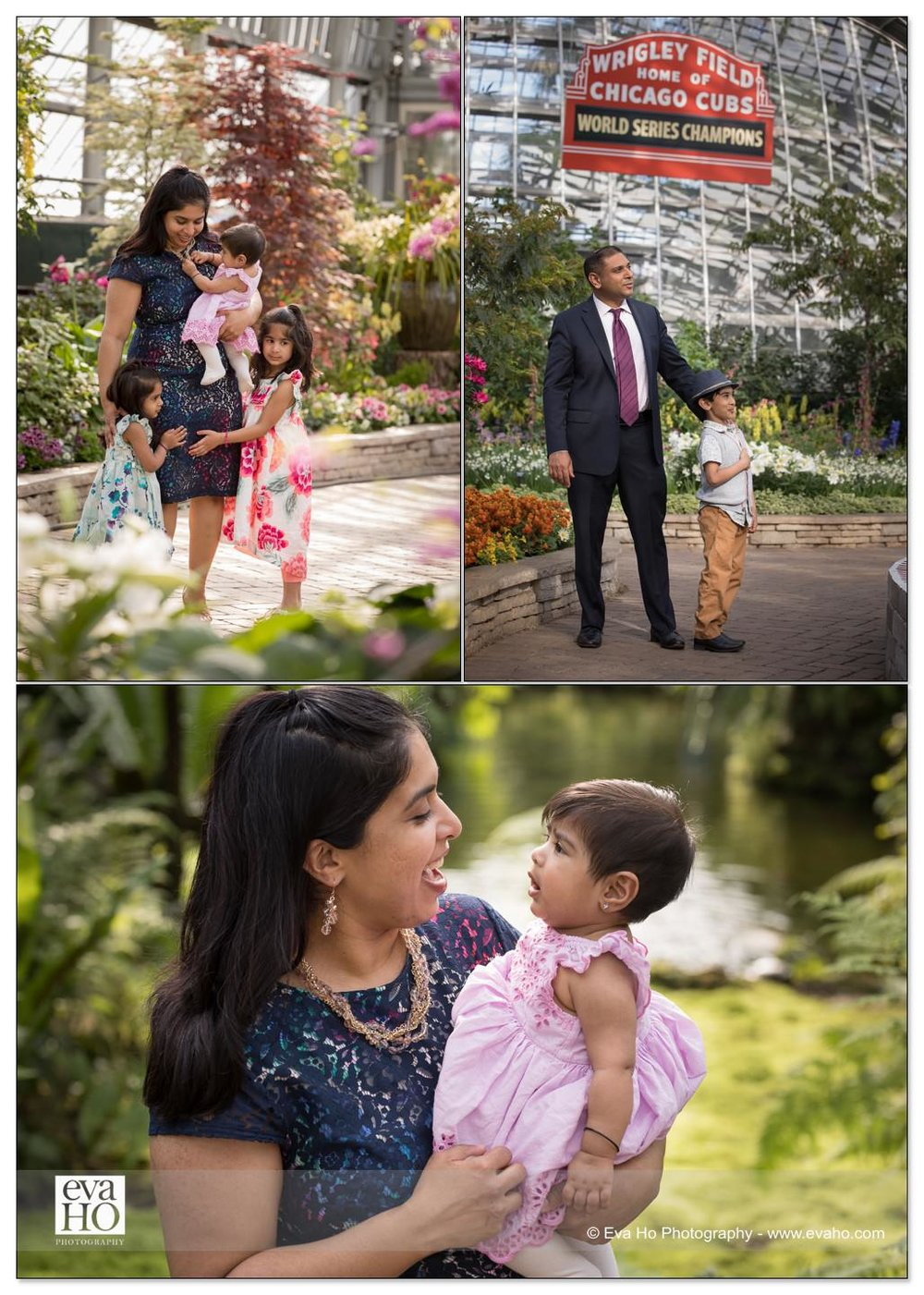 Inside the Garfield Park Conservatory, mom and dad with their energetic kids.
