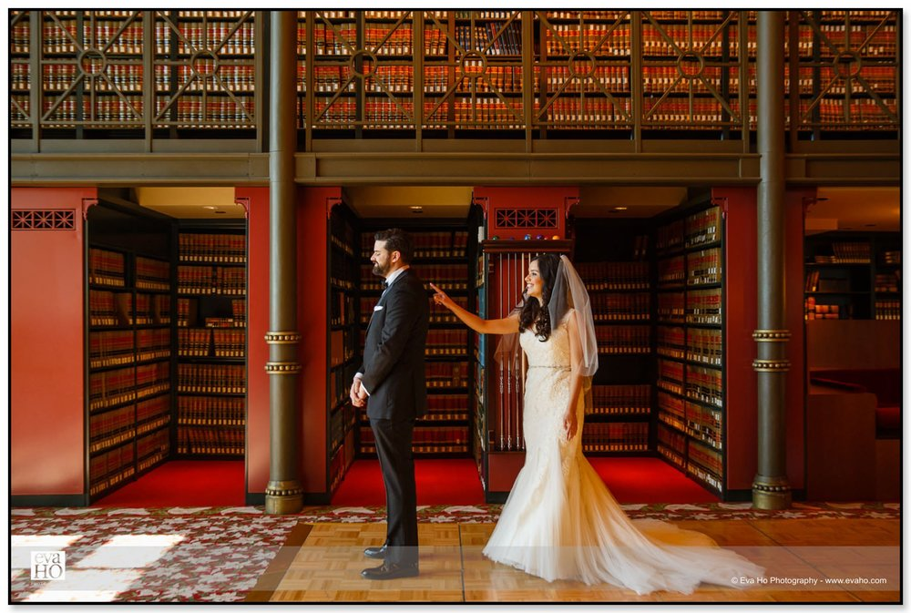 Michelle and James decided to do a first look at their reception venue, The Library.