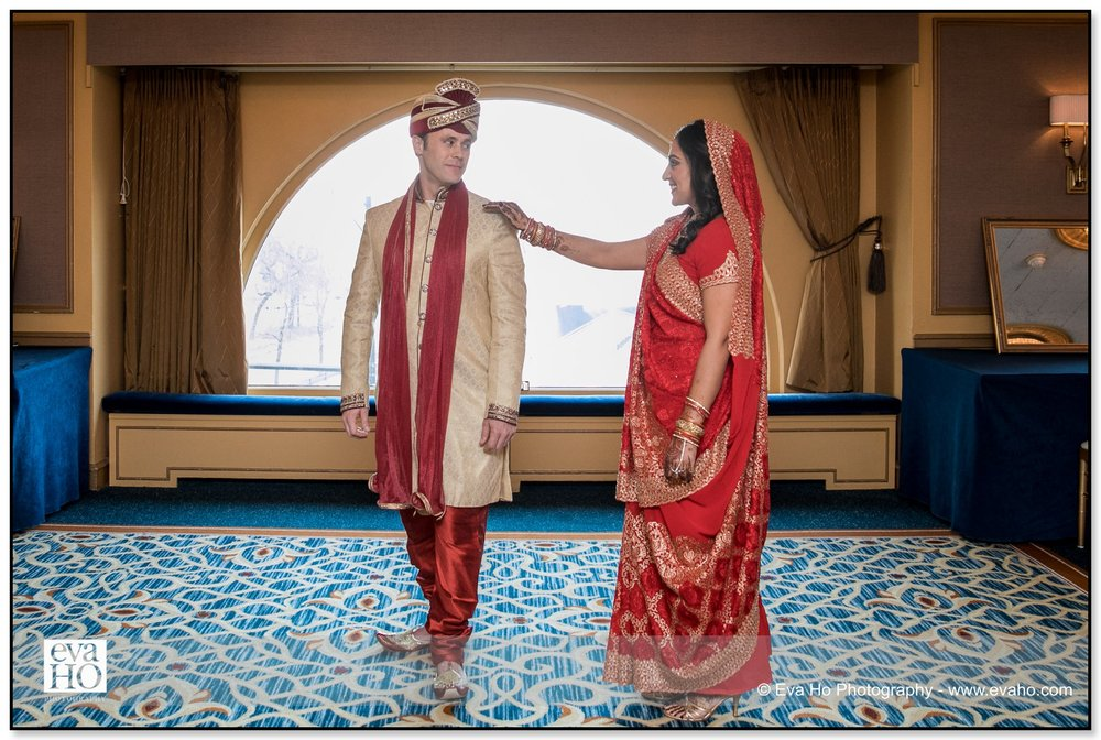 First look of the bride and groom at The Drake Hotel in Chicago