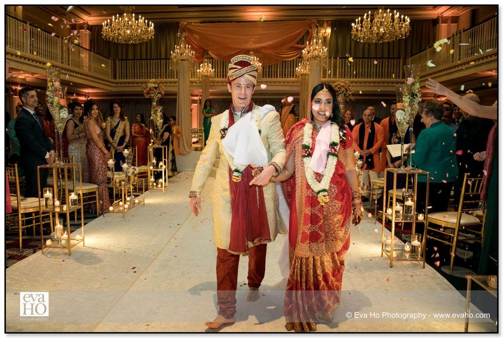 Bride and Groom leave their traditional Indian ceremony in Chicago.