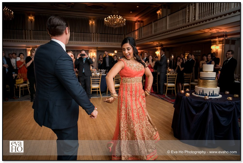 Reception photography at an Indian fusion wedding.