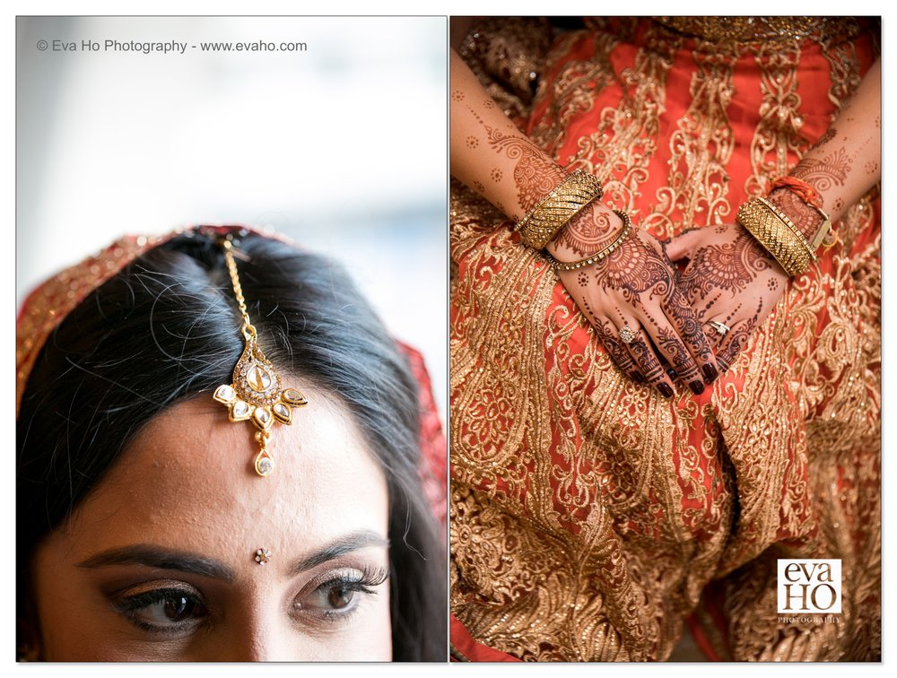 Details of an Indian bride's wedding outfit.