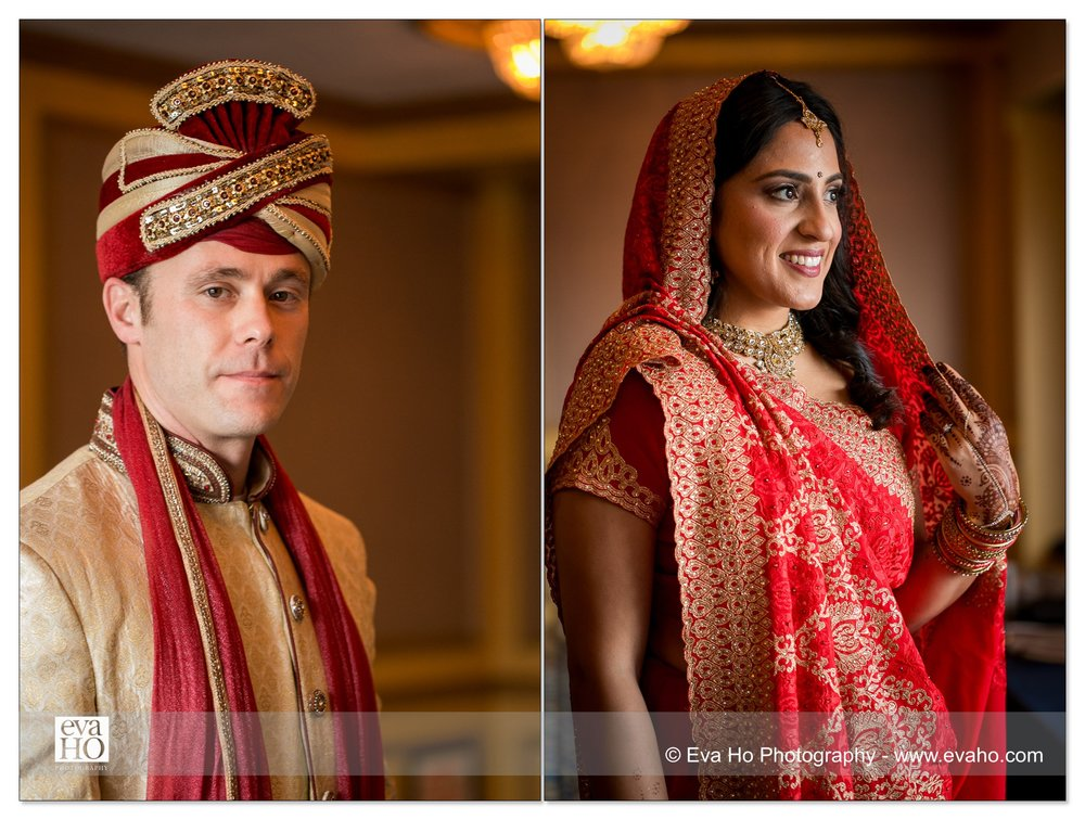Portraits of the bride and groom from an Indian fusion wedding in downtown Chicago
