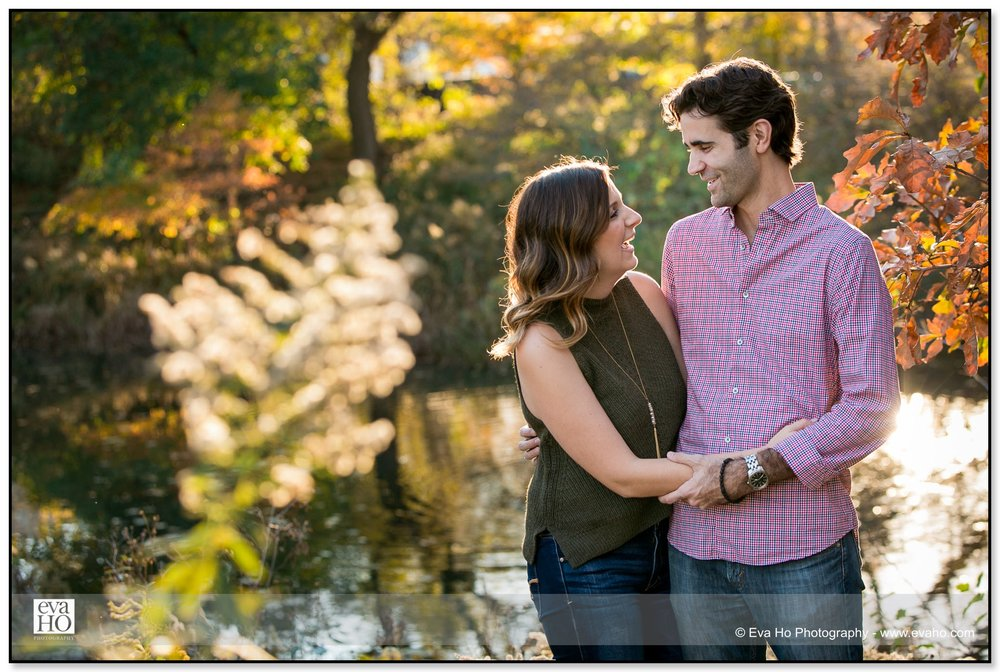 Couple laughing during Lincoln Park engagement session