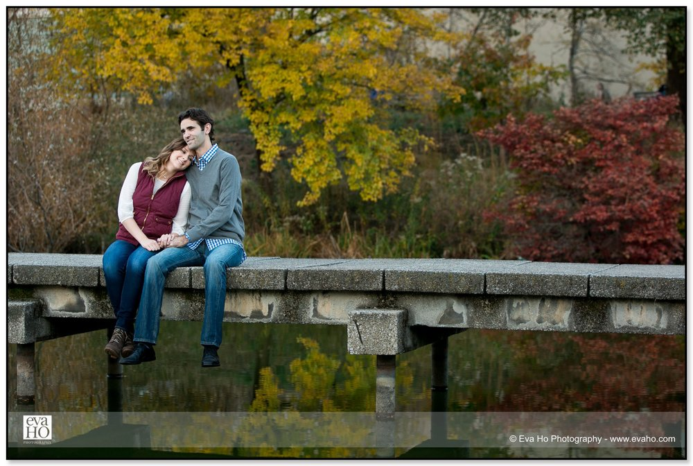 Pictures of a couple on a bridge in Chicago's Lincoln Park