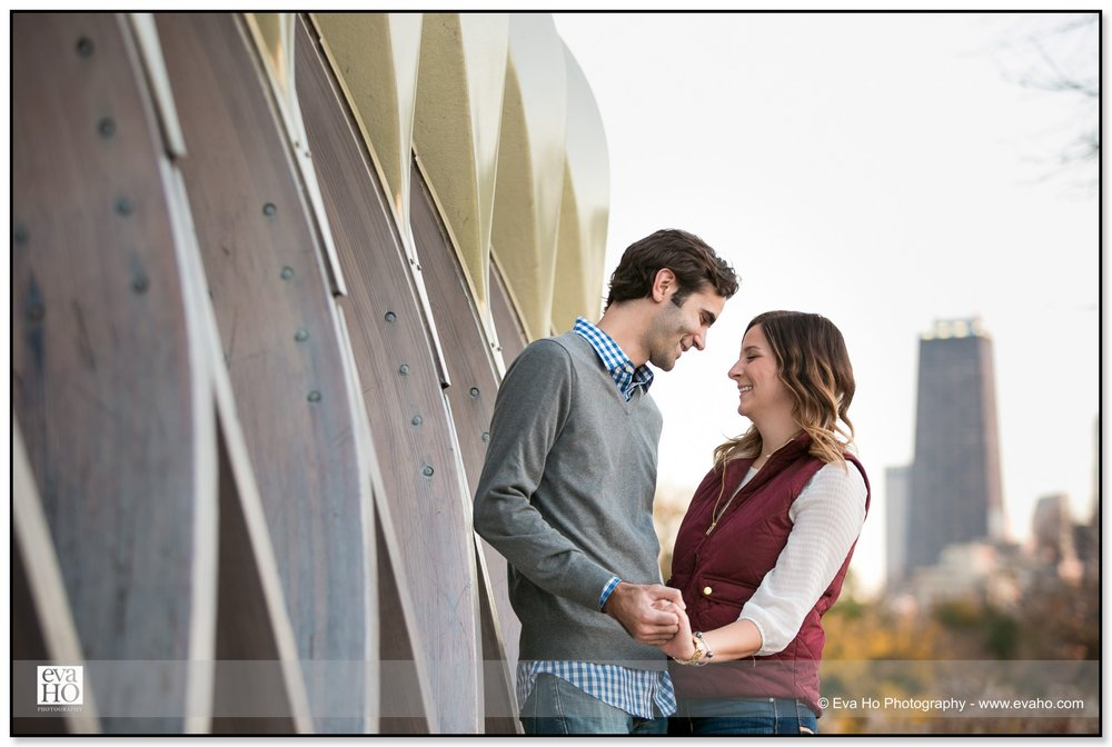 Fall engagement pictures by Lincoln Park's Honeycomb by Studio Gang