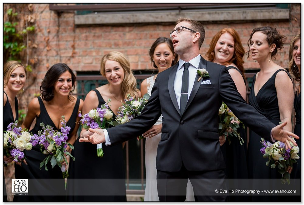 Groom sings to and goofs around with bridesmaids during a Chicago wedding