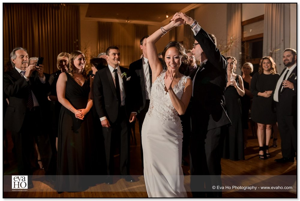 Bride and Groom's first dance surrounded by friends and family in the Ivy Room