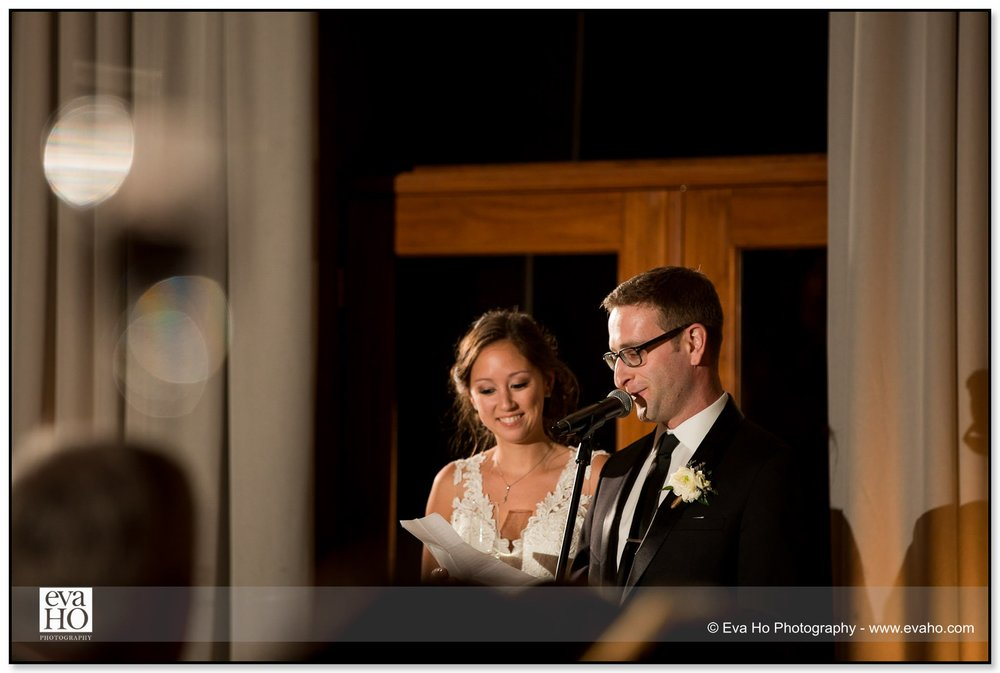 Bride and groom's toast and thank you speech during a classically Chicago wedding in River North
