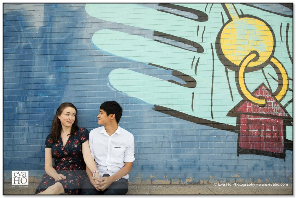 Chicago Engagement portrait session taken in front of a mural in Logan Square
