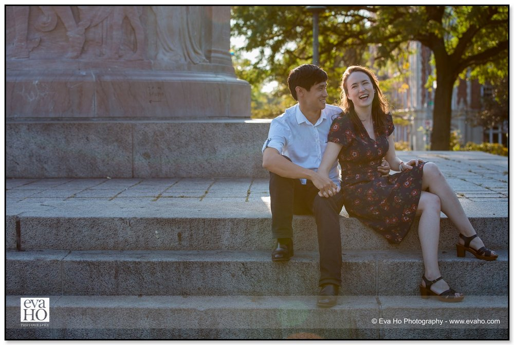 Downtown Chicago engagement session with girl laughing