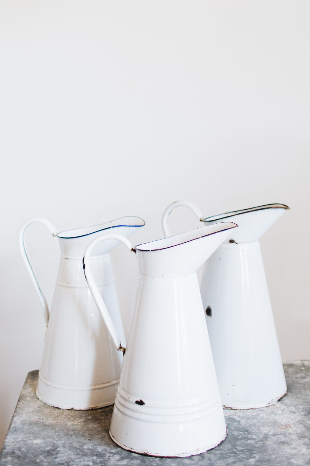Vintage White Enamel Pitchers