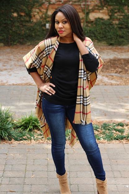 fall wrap and peep-toe booties