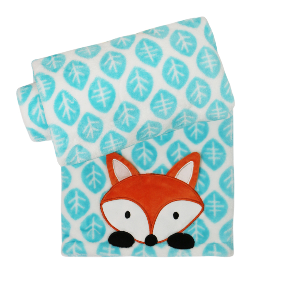 Belle Printed Aqua Boa Blanket with Fox Applique.jpg