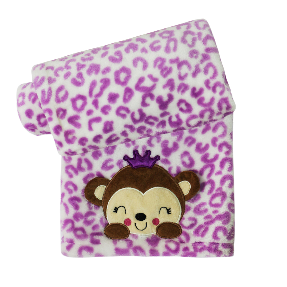 Belle Printed Purple Boa Blanket with Monkey Applique.jpg