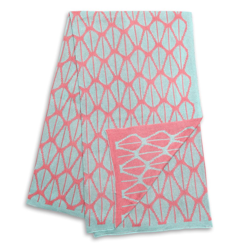 Woven Bamboo Blanket - Coral & Aqua.jpg