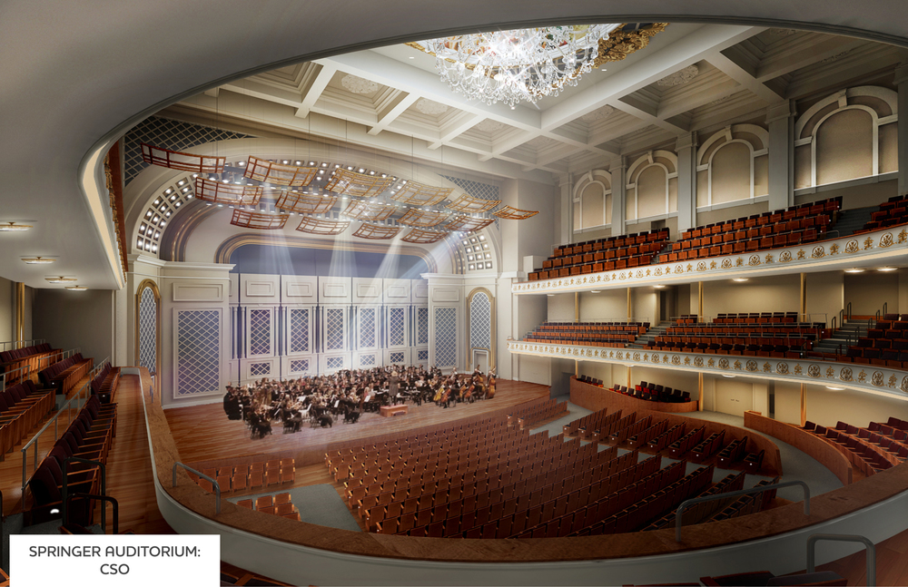 Rendering of Springer Auditorium, extended stage.