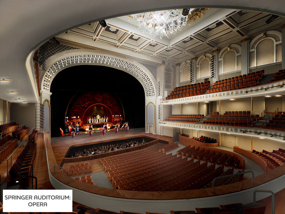 Rendering of Springer Auditorium, with orchestra pit.