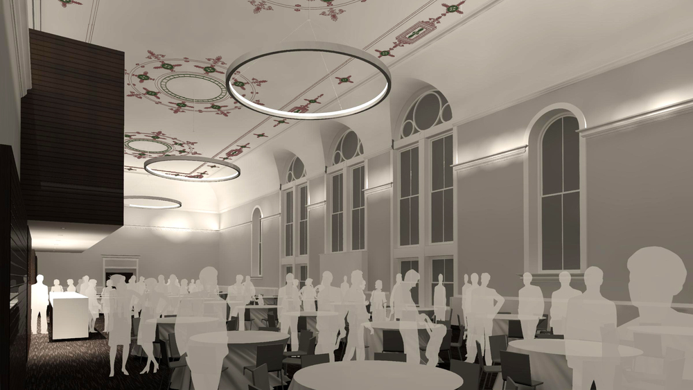 Rendering of Corbett Tower with restored stencil work and false ceilings removed.