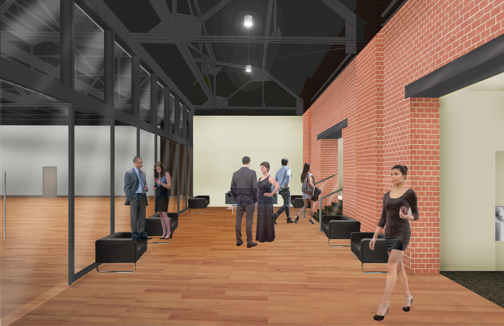 Rendering of the second floor reheasal and event space lobby.