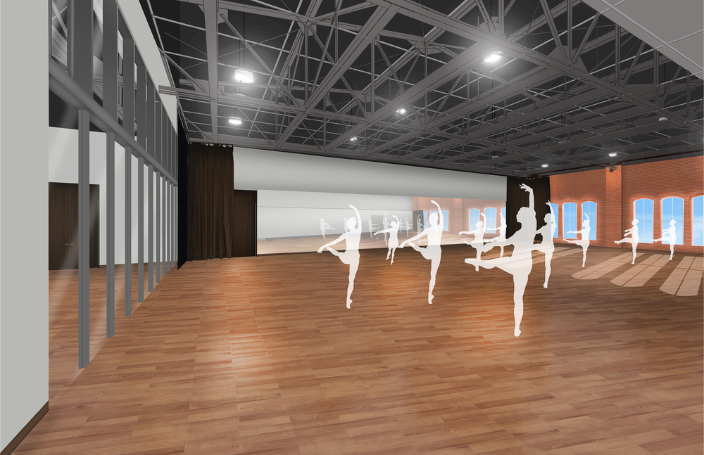 Rendering of the second floor rehearsal space that will also serve as an event space.