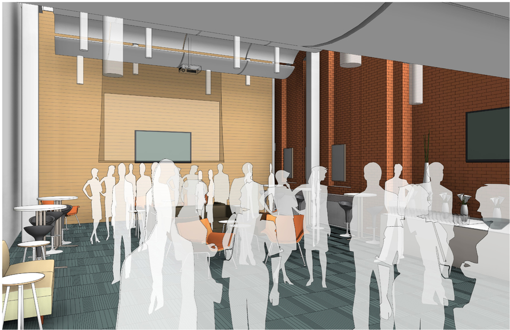 Rendering of the first floor event space.