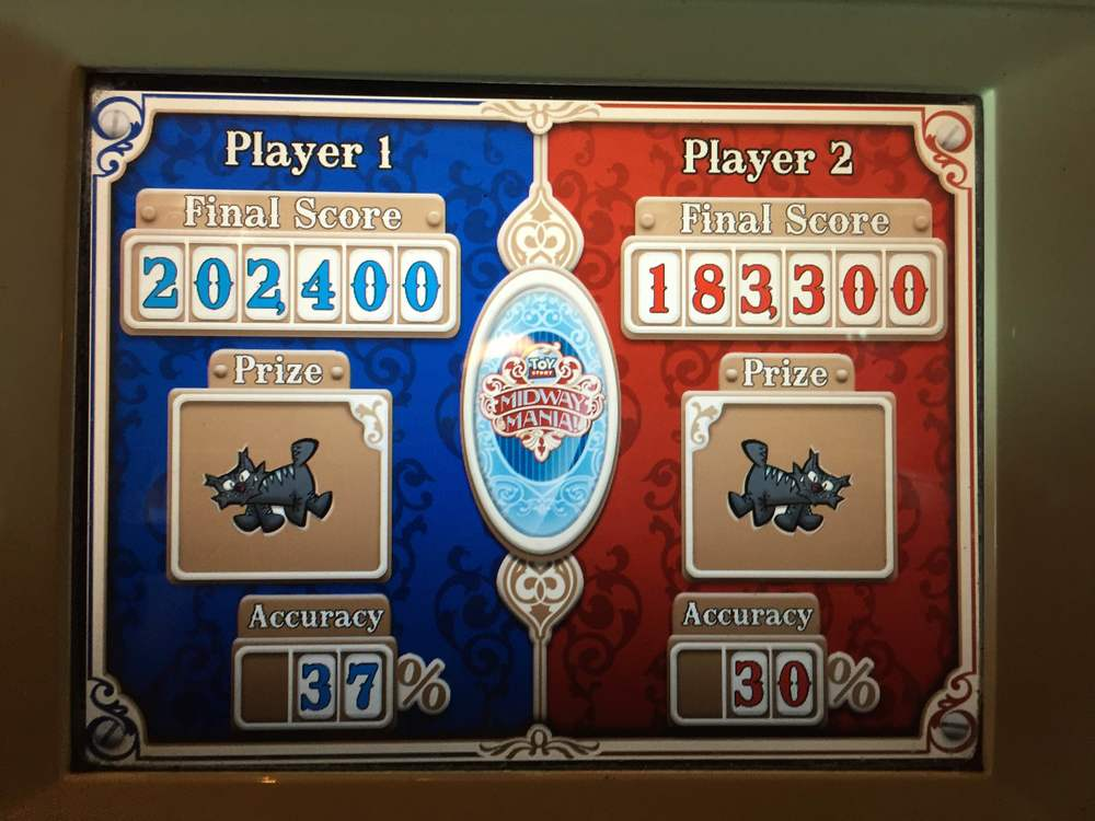 Jen smashed me on the Toy Story ride! So much for being rusty, Jen.