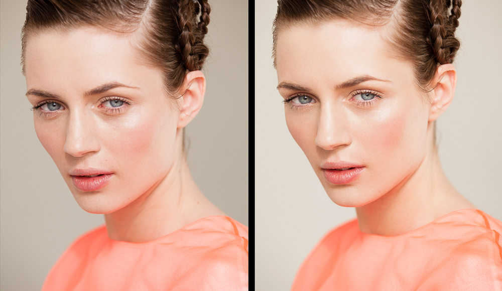 Before and after retouching