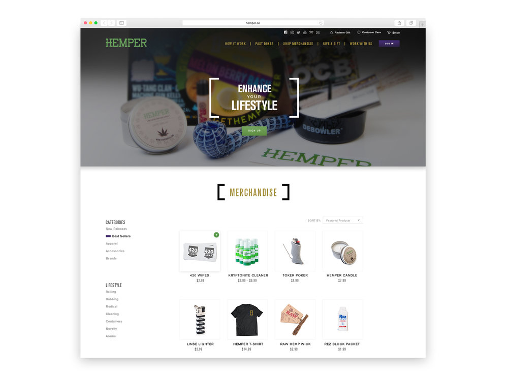 Clean visuals and navigation for e-commerce web design.