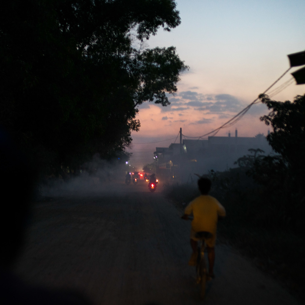 Sunset ride in cambodian province