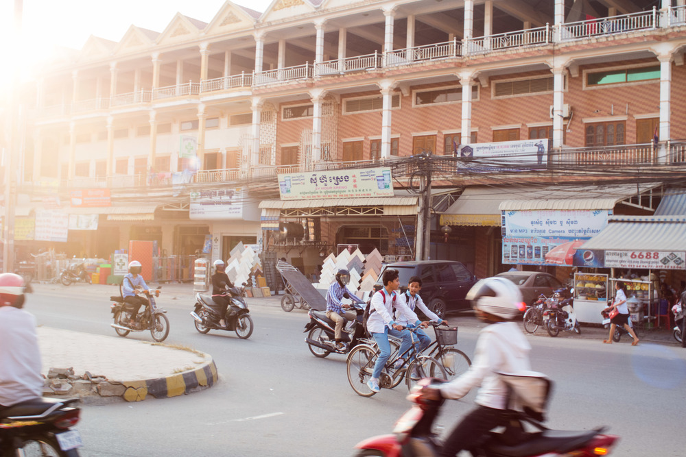 Late afternoon traffic in Phnom Penh, Cambodia
