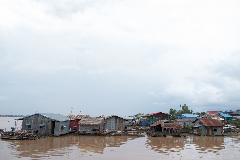 House boats on the Mekong River, Cambodia