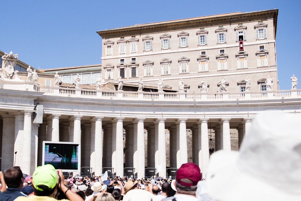 Pope Francis giving his blessing to the people of St. Peter's Square!