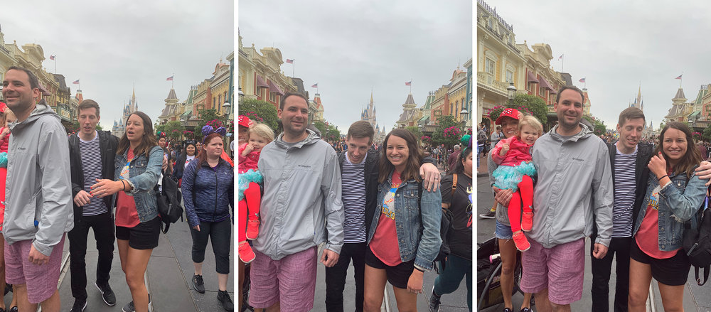 I asked my mom to take a photo of the 5 of us in front of the castle. She took these three photos and then handed my phone back to me. Nailed it. (insert laugh-crying emoji here)