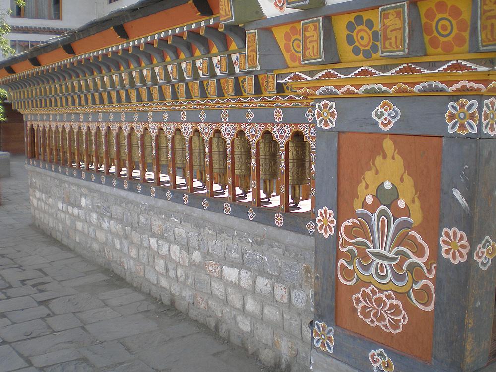 Bhutan.Thimpu.MainSquare.PrayerWheels.jpg