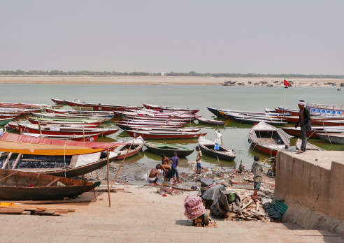 India Varanasi Boats and Bathing.jpg