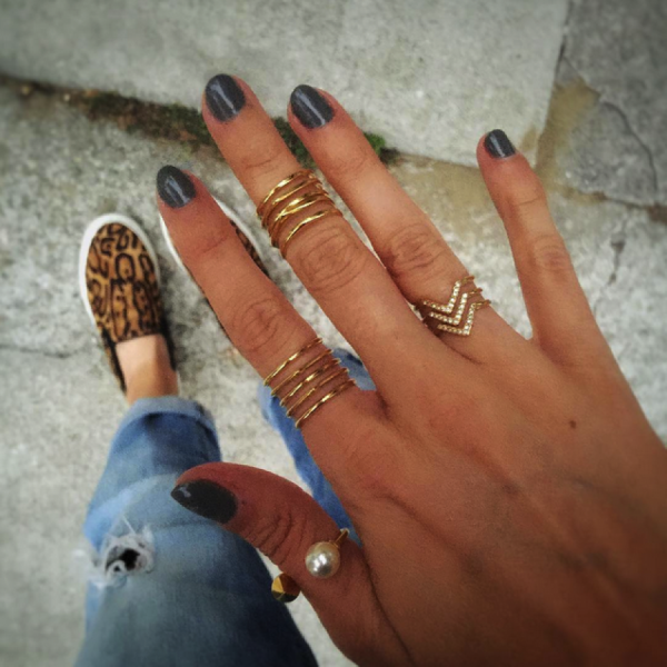 Add the Pearl Spike Ring as a thumb ring for a classic statement.