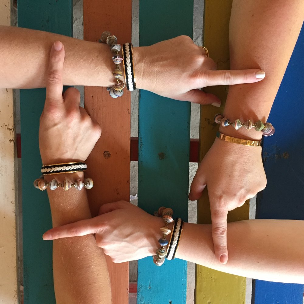 Illuminate Cuff + Enlighten Bracelet with Haitian artisan bracelets