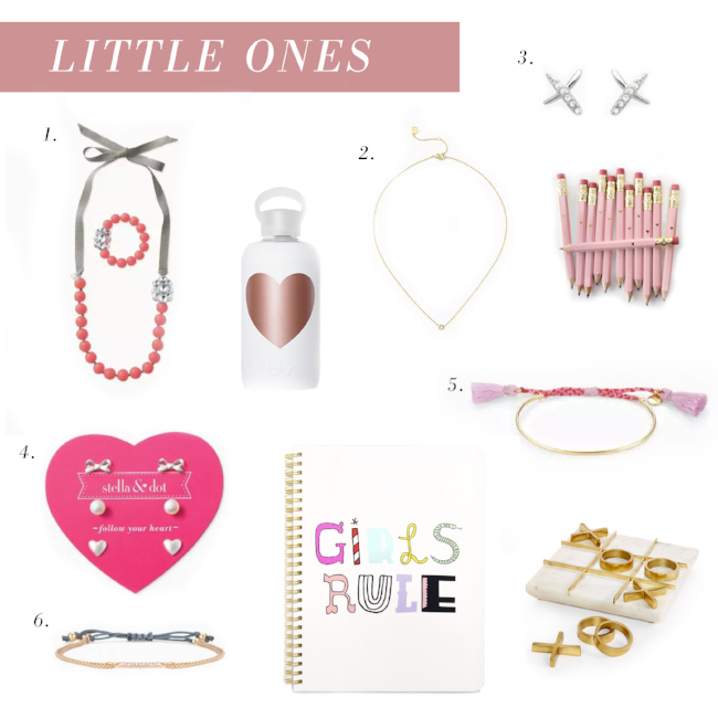 She loves imitating you, so gift her with jewels that are just the right amount of sparkle for her tiny frame. After all, great style starts young and she'll love her very own special Stella & Dot style. 1. COLOR CRUSH STATEMENT NECKLACE SET 2. WISHING NECKLACE 3. TILLEY STUDS 4. MINI PEARL TRIO SET   5. FETE BRACELET 6. PAVÉ WISHING BRACELET